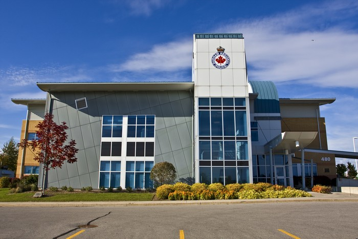 Office Building Front Elevation : Durham regional police office stouffville glass inc